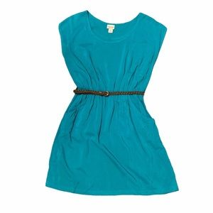 Mossimo Supply Teal Fit & Flare Dress with Pockets